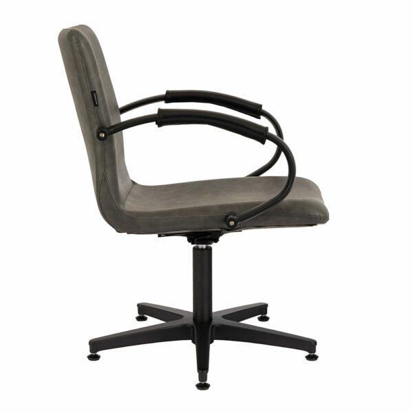 4467 Matilda Textured Charcoal Salon Chair Side